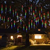 Prezzl Meteor Shower Lights, Falling Rain Lights/Icicle Snow String Lights with 30cm 8 Tubes 224 Waterproof LEDs for Wedding Party Holiday and Christmas Decorations(Multicolor)