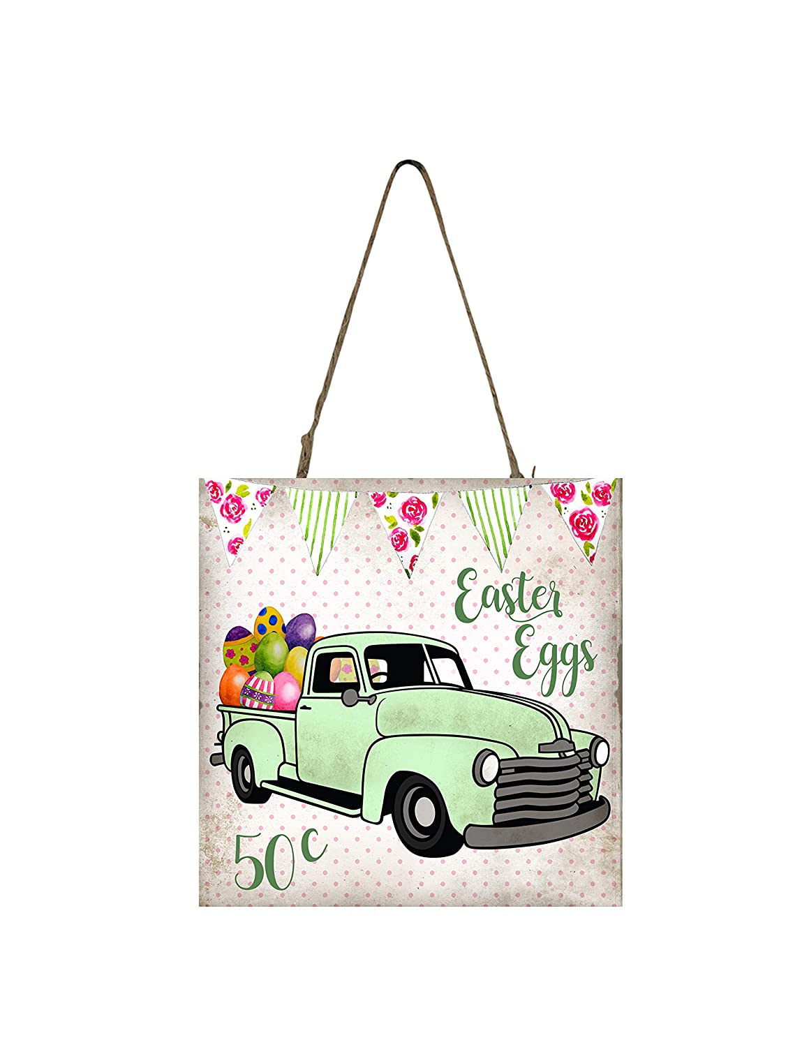 Green Easter Egg Truck Printed Handmade Wood Ornament Small Sign
