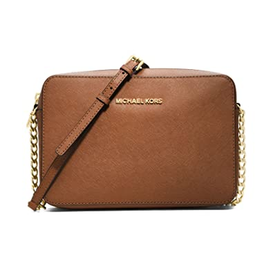 0ed88f53b573a Amazon.com  Michael Kors Large Leather Jet Set East West Travel Crossbody in  Luggage  Shoes