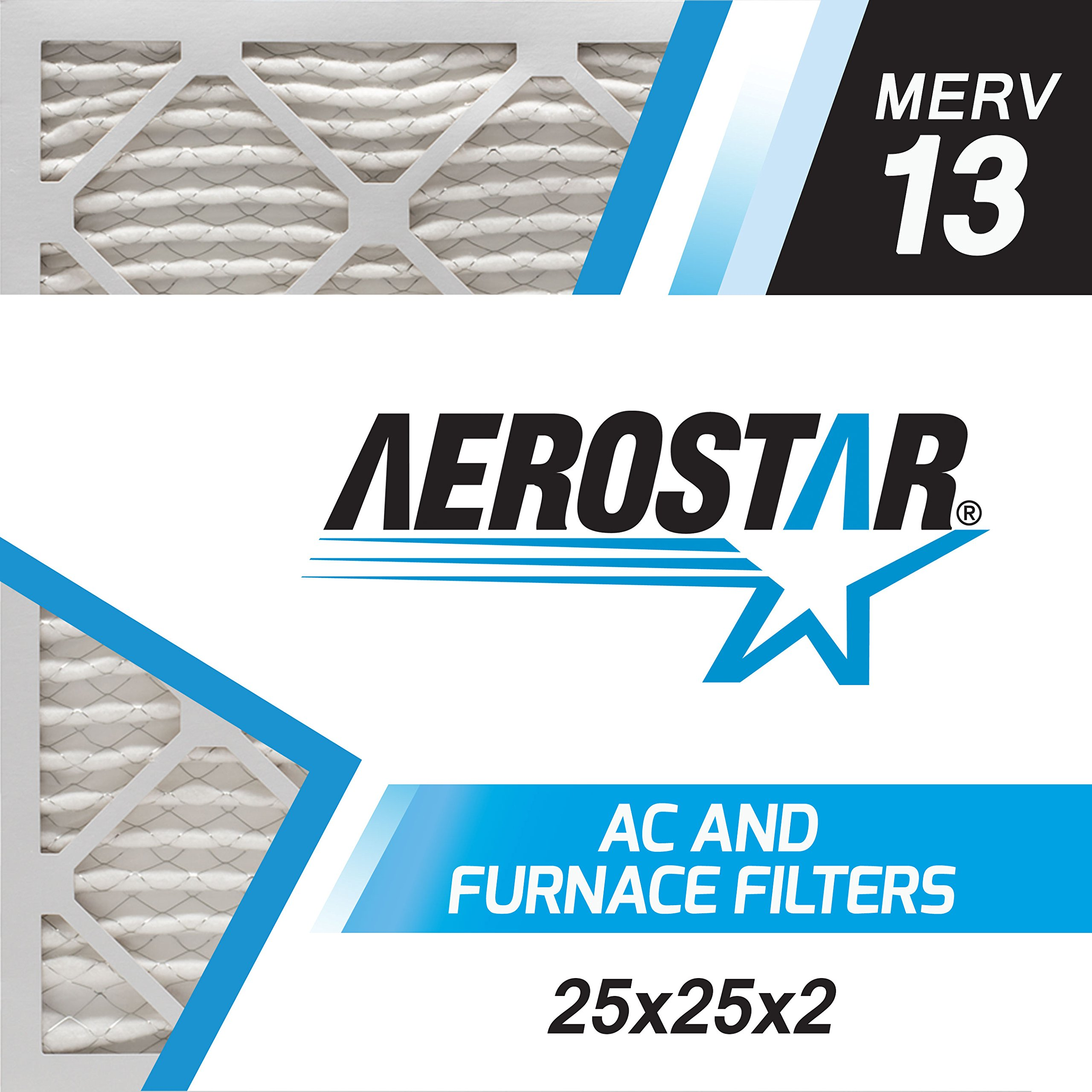 Aerostar 25x25x2 MERV 13, Pleated Air Filter, 25x25x2, Box of 6, Made in the USA by Aerostar