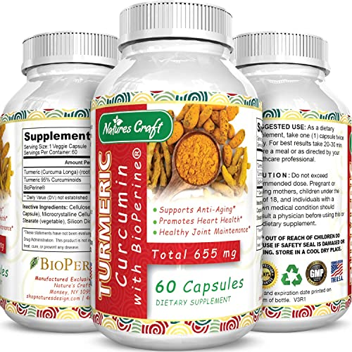 Turmeric Curcumin with Bioperine Antioxidant Supplement – Turmeric Capsules with Curcumin Supplements for Anti Aging Brain Booster and Joint Support – Turmeric with Black Pepper Brain Supplement