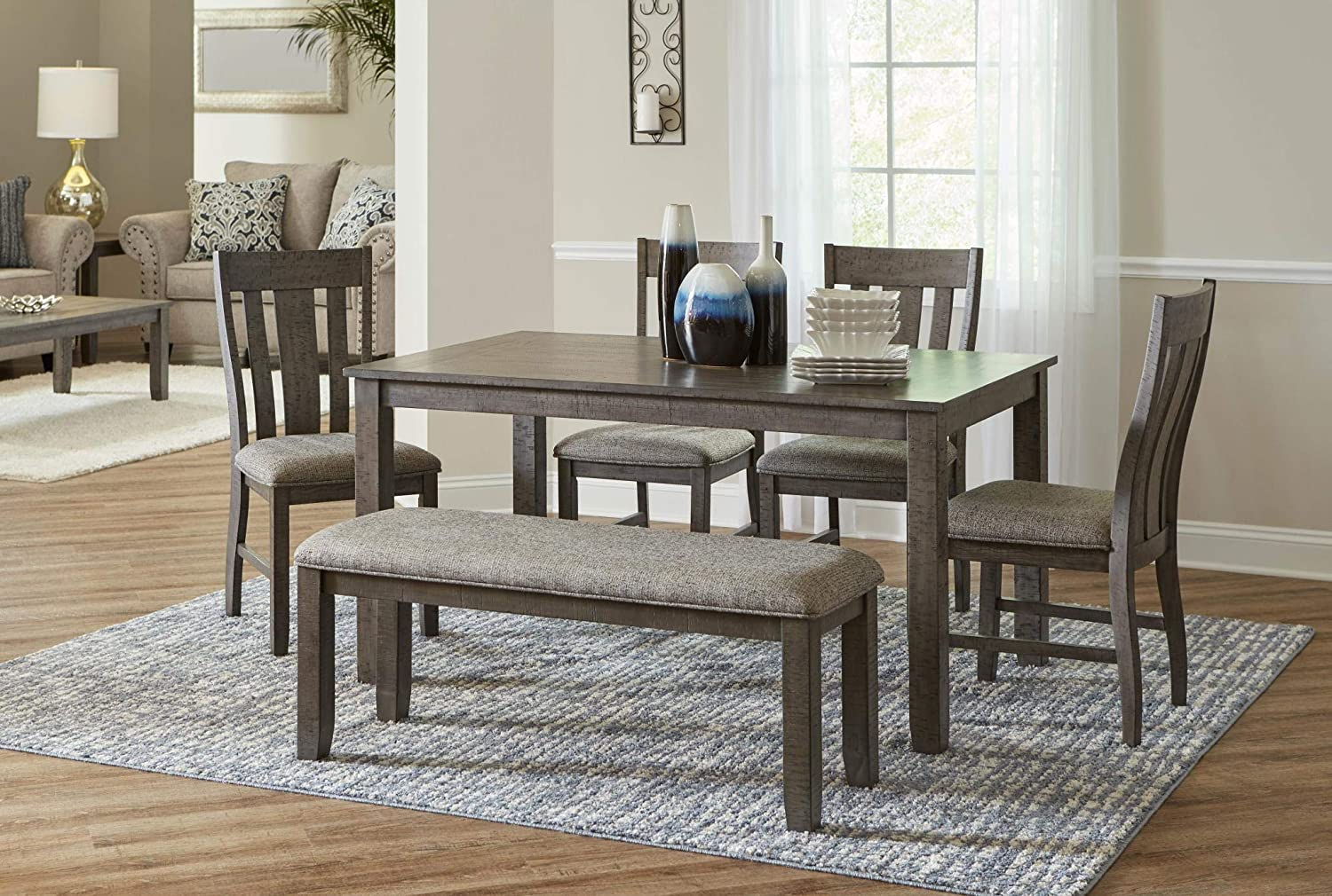 Amazon Com Lane Home Furnishings 6 Pc Set Table 4 Chairs Dining Bench 6pc Grey Table Chair Sets