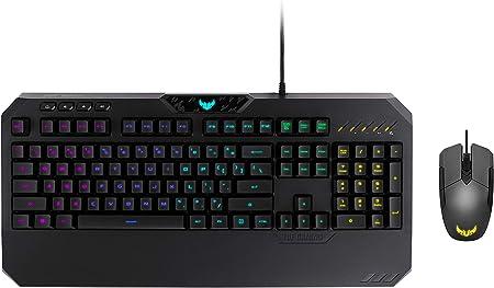Teclado ASUS TUF Gaming K5 RGB con Botones táctiles Mech-Brane y Resistencia a derrames, y ratón ergonómico RGB M5 ambidiestro con Sensor óptico de ...