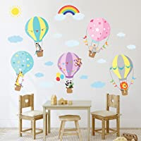 BASHOM BS-001 Animals in Hot Air Balloons Wall Stickers Wall Decals Peel and Stick Removable Wall Stickers for Kids…