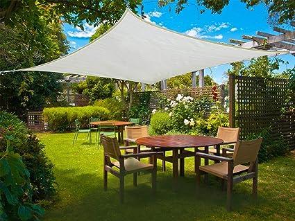Rechteck 2x3m UV-Schutz wetterbest/ändig Segel,Cr/ème Sunnylaxx Wasserdicht Sonnensegel Sonnenschutz Garten