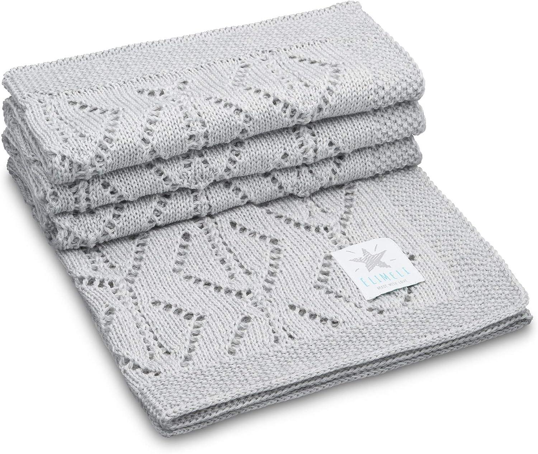 elimeli Baby–Manta Manta de punto 100% Lana Virgen Merino perfecto para bebés en paquetes de regalo antial lergikum Super Soft gris gris