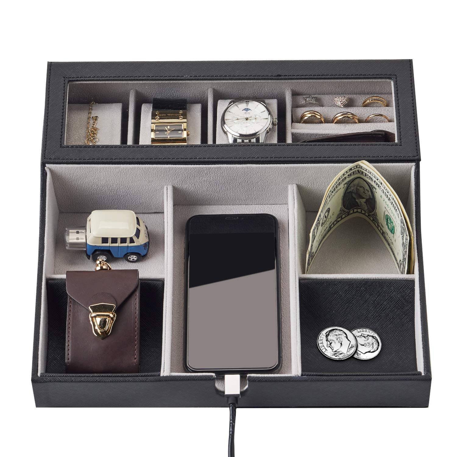 NEATOPA Valet Tray - Men Jewelry, Keys, Watch Nightstand Organizer for Perfect Life On Table Valet Box Made of Black PU Leather, Velvet with Charging Station (10 Compartment)