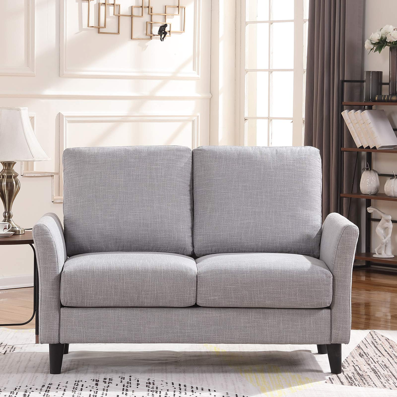 HONBAY Contemporary Upholstered 54'' in Sofa Couch Loveseat, Light Grey by Generic