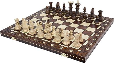 Wegiel Handmade European Ambassador Chess Set - Wooden 21 Inch Beech & Birch Board