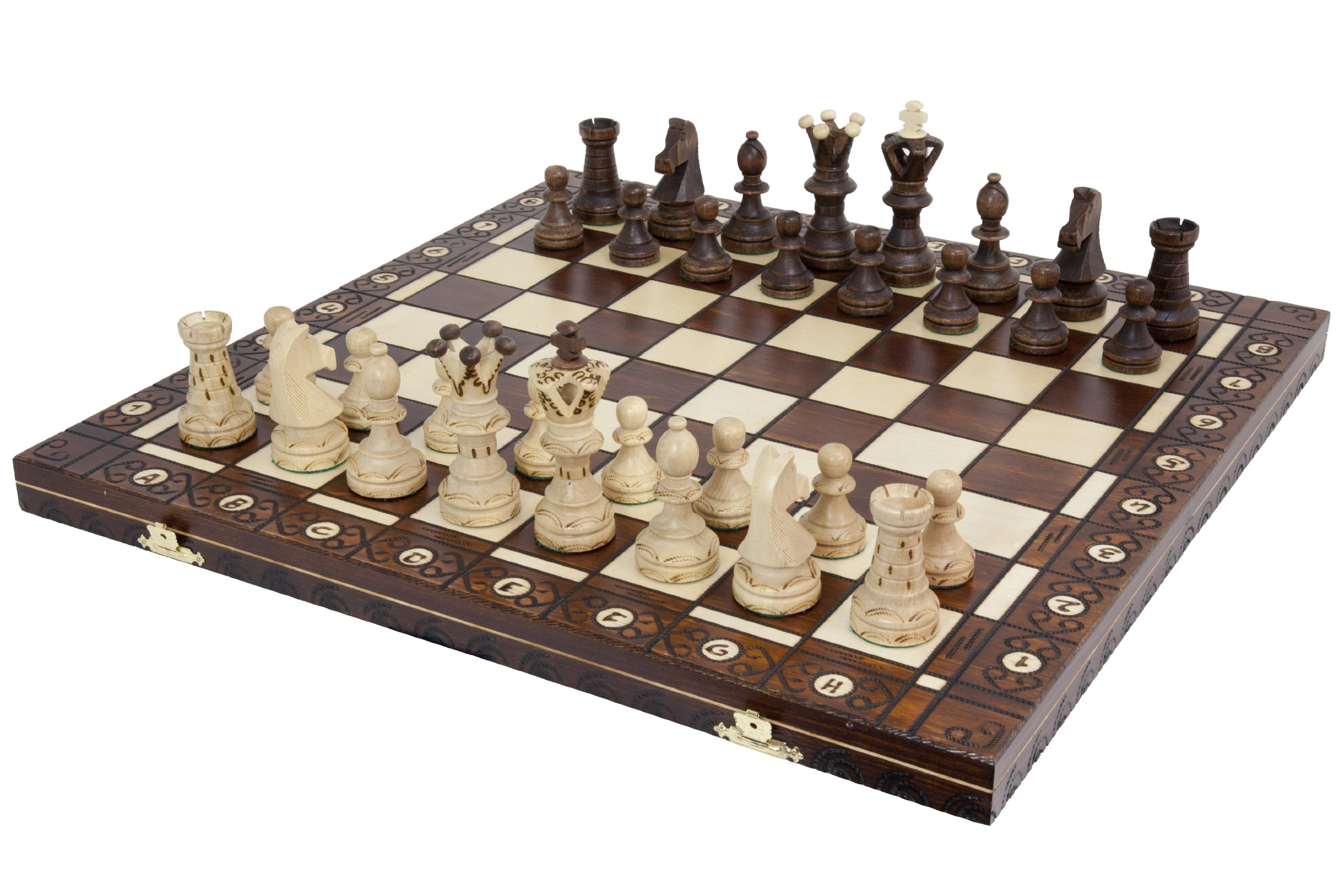 Wegiel Handmade European Ambassador Chess Set - Wooden 21 Inch Beech & Birch Board With Felt Base - Carved Hornbeam & Sycamore Wood Chess Pieces - Compartment Inside The Board To Store Each Piece