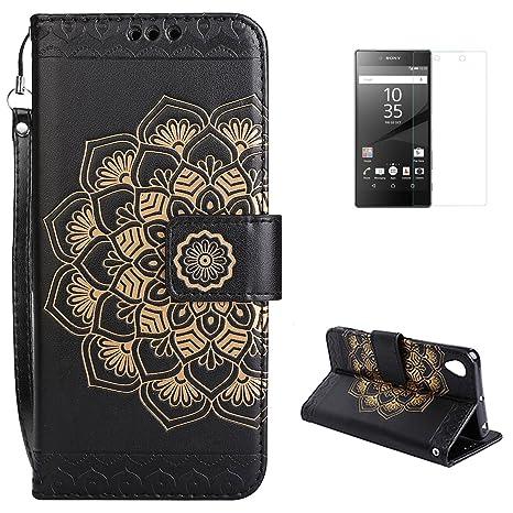 Amazon.com: Sony Xperia Z5 Funda tipo portafolios [Protector ...