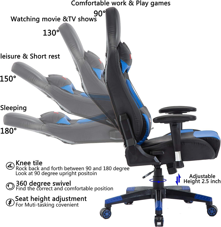 EDWELL Chaise de Jeu vid/éo Chaise de Bureau r/églable en Cuir PU Chaise avec Repose-t/ête et accoudoir,Bleu