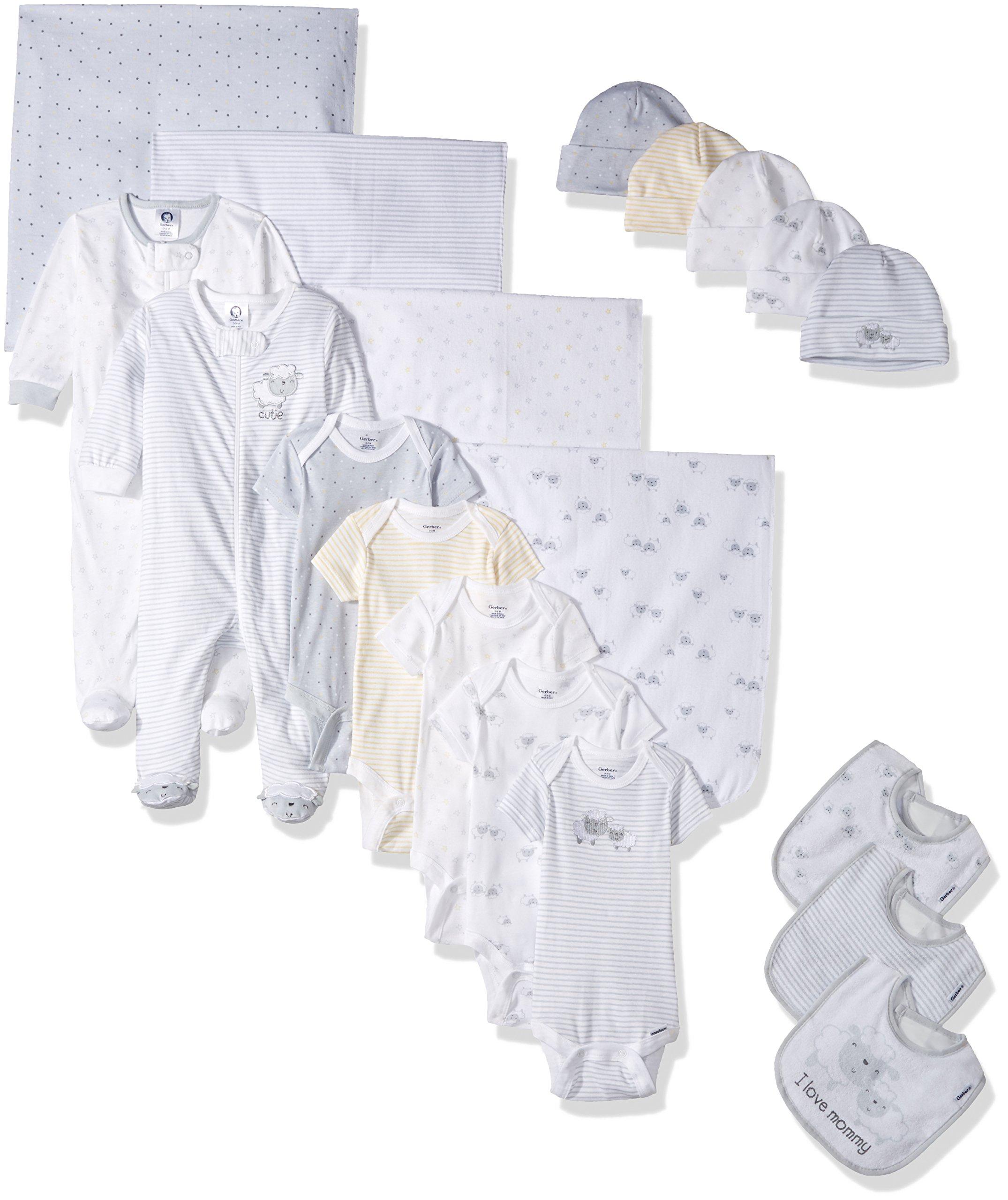 Gerber Baby Girls 19 Piece Essentials Gift Set, Lil' Lamb, 0-3M: Onesies/Sleep 'n Play, 0-6M: Cap, One Size: Bib/Blanket by Gerber