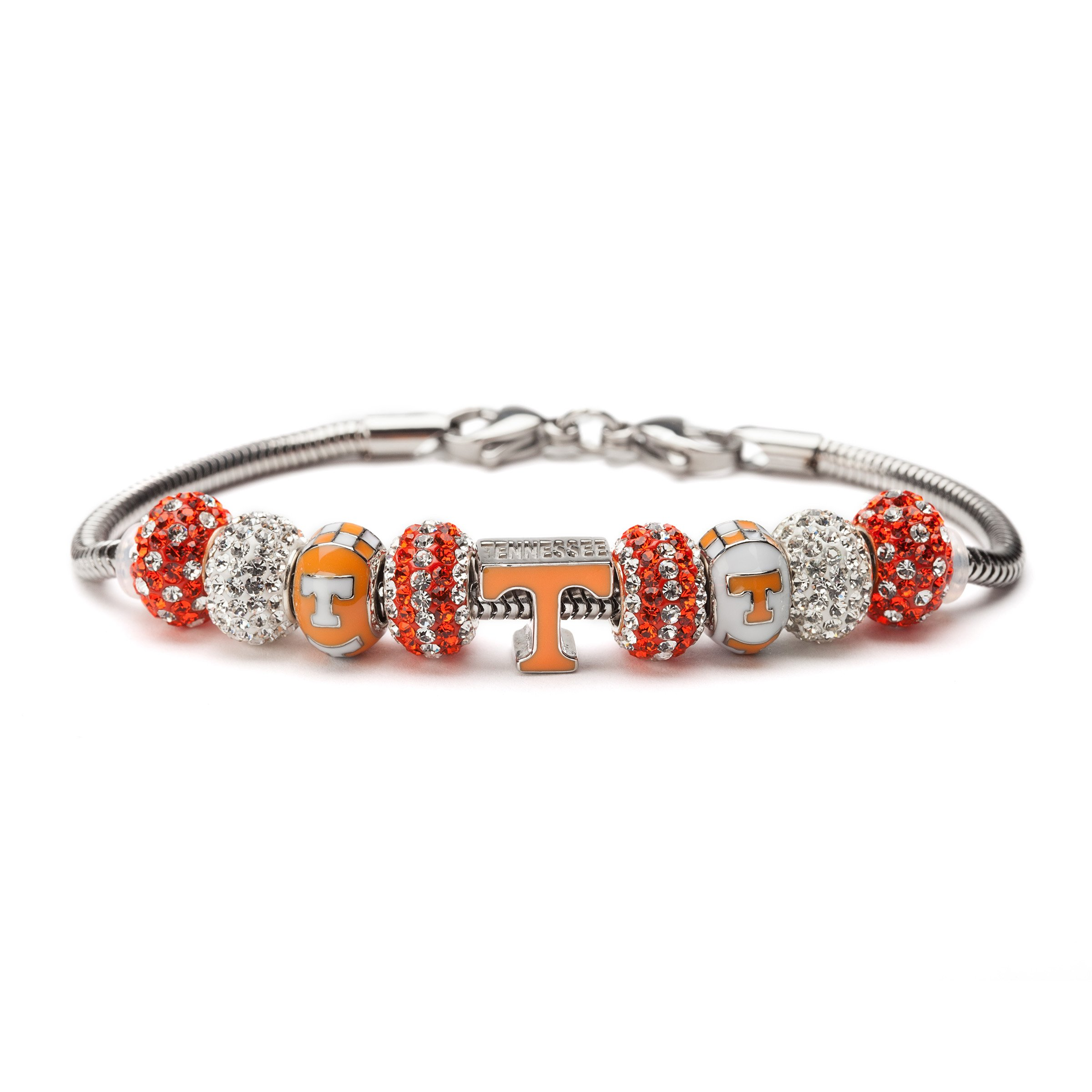 University of Tennessee Charm Bracelet | Tennessee Stainless Steel Bracelet | Tennessee Volunteers Gifts | Product | Officially Licensed Jewelry by University of Tennessee by Stone Armory