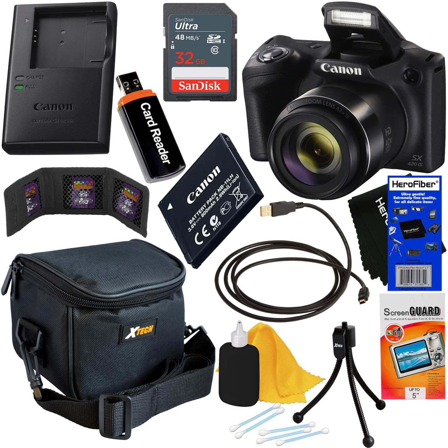 Canon Powershot SX420 is 20 MP Wi-Fi Digital Camera with 42x Zoom (Black) + Canon NB-11LH Battery & Charger + 9pc SanDisk 32GB Deluxe Accessory Kit w/HeroFiber Ultra Gentle Cloth
