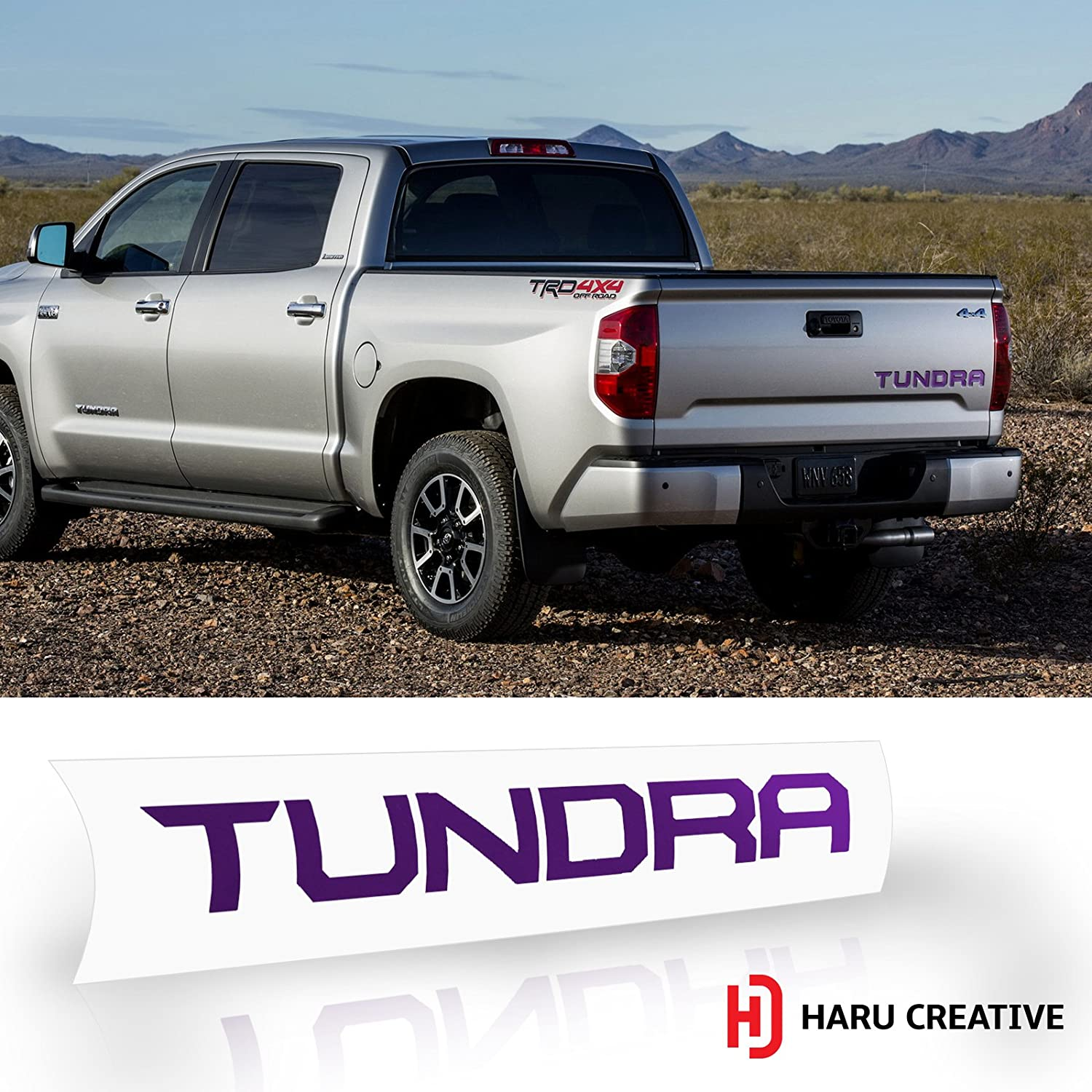 Rear Tailgate Trunk Letter Insert Decal Compatible with and Fits Toyota Tundra 2014-2018 Haru Creative Metallic Chrome Purple