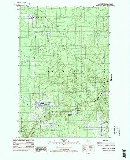 Amazon.com: Michigan Maps | 1982 Greenland, MI USGS Historical ...