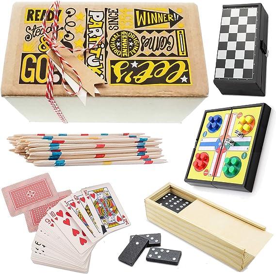 Partituki Pack Juegos de Mesa Clásicos Incluye: Mini Parchís, Mini Damas, Dominó, Baraja de Póker y Mikado: Amazon.es: Juguetes y juegos