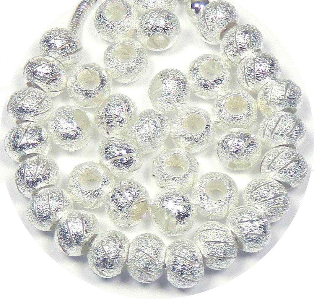 Rockin Beads Brand, 40 Beads Stardust Cut Lace Beads Large 5mm Hole Shiny Silver European Charm