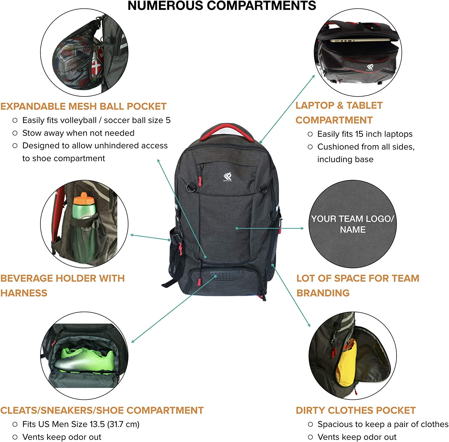 Backpack for Soccer Travel Separate Ball Men School Football Shoe Youth RitzKitz The Ultimate Sports Bag Laptop /& Dirty Clothes Compartments Basketball Gym for Boys Girls /& Women
