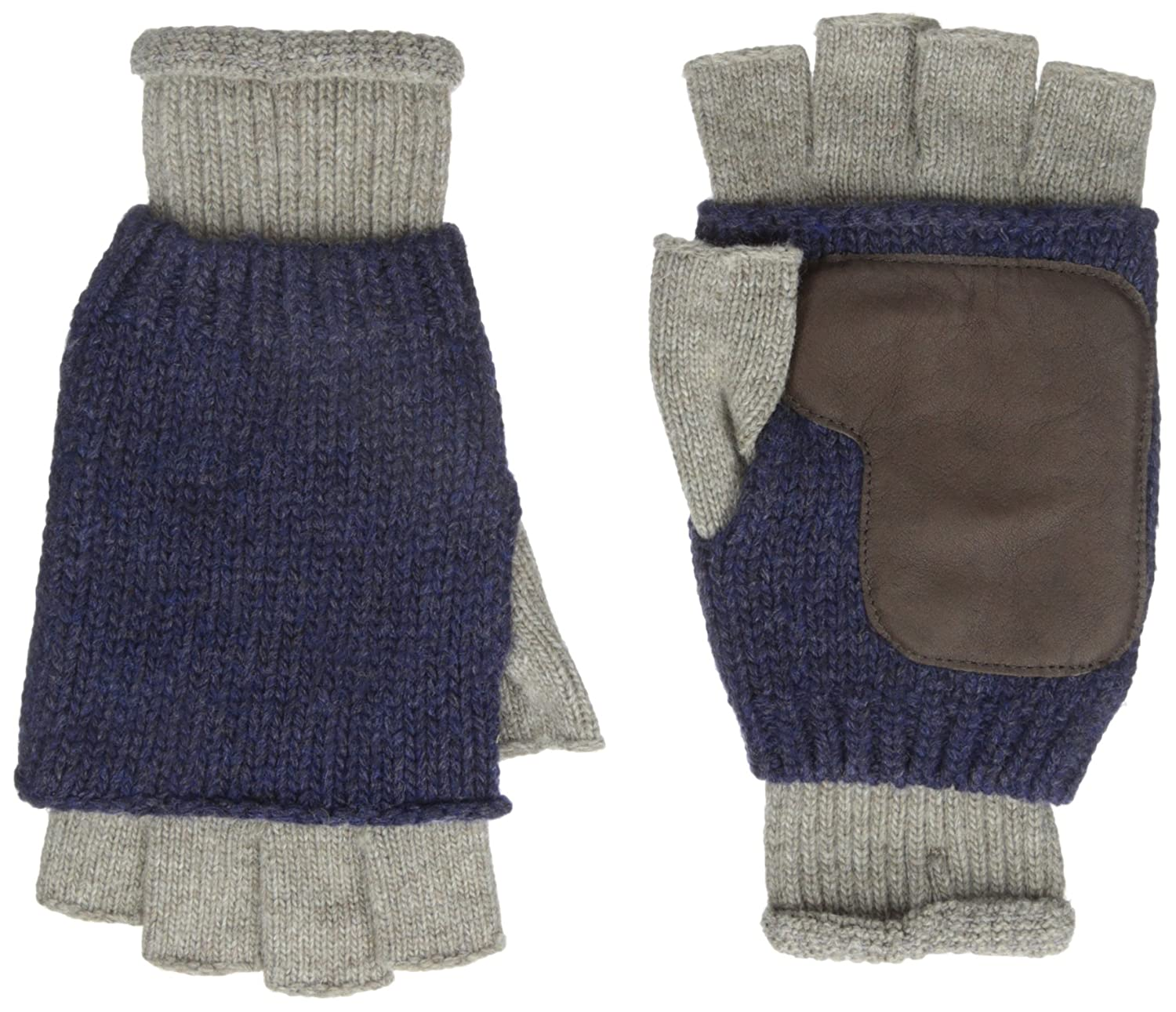 Ben Sherman Men\'s Knit Fingerless Glove with Leather, Champagne, One ...