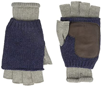 Ben Sherman Mens Knit Fingerless Glove With Leather Champagne One