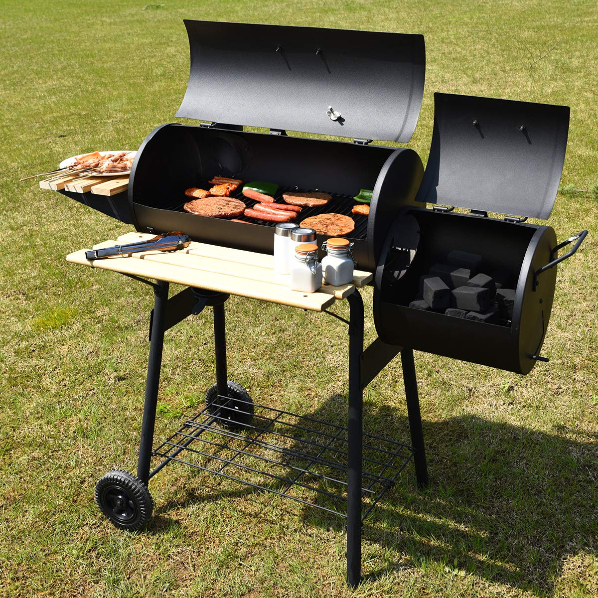Giantex Charcoal BBQ Grill Barbecue Grill Outdoor Rolling ...