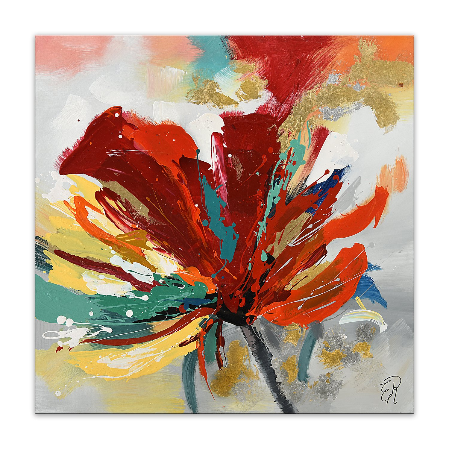 World Art TW60123 Aesthetic Wooden Frame Multicolored Flower 80x80x3.5 cm Size: 32 x 32 x 2 Inch