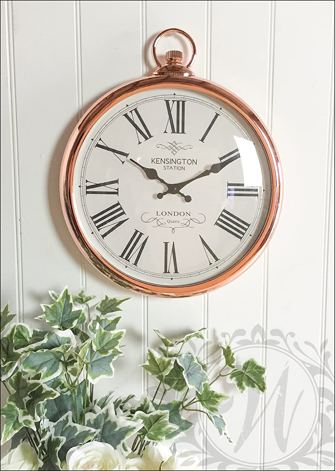 Large 42cm round copper roman numeral pocket watch kensington large 42cm round copper roman numeral pocket watch kensington station wall clock amazon kitchen home amipublicfo Images