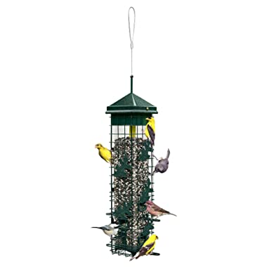 Squirrel Solution200 5.5 x5.5 x30  (w/hanger) Wild Bird Feeder with 6 Feeding Ports, 3.4lb Seed Capacity, Free Seed Funnel