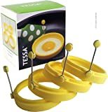 4 Silicone Egg Ring Mold Set with stainless steel handles and beautiful Gift Box included. Makes round shaped fried eggs - omelette - pancakes - burger patties by TESSA