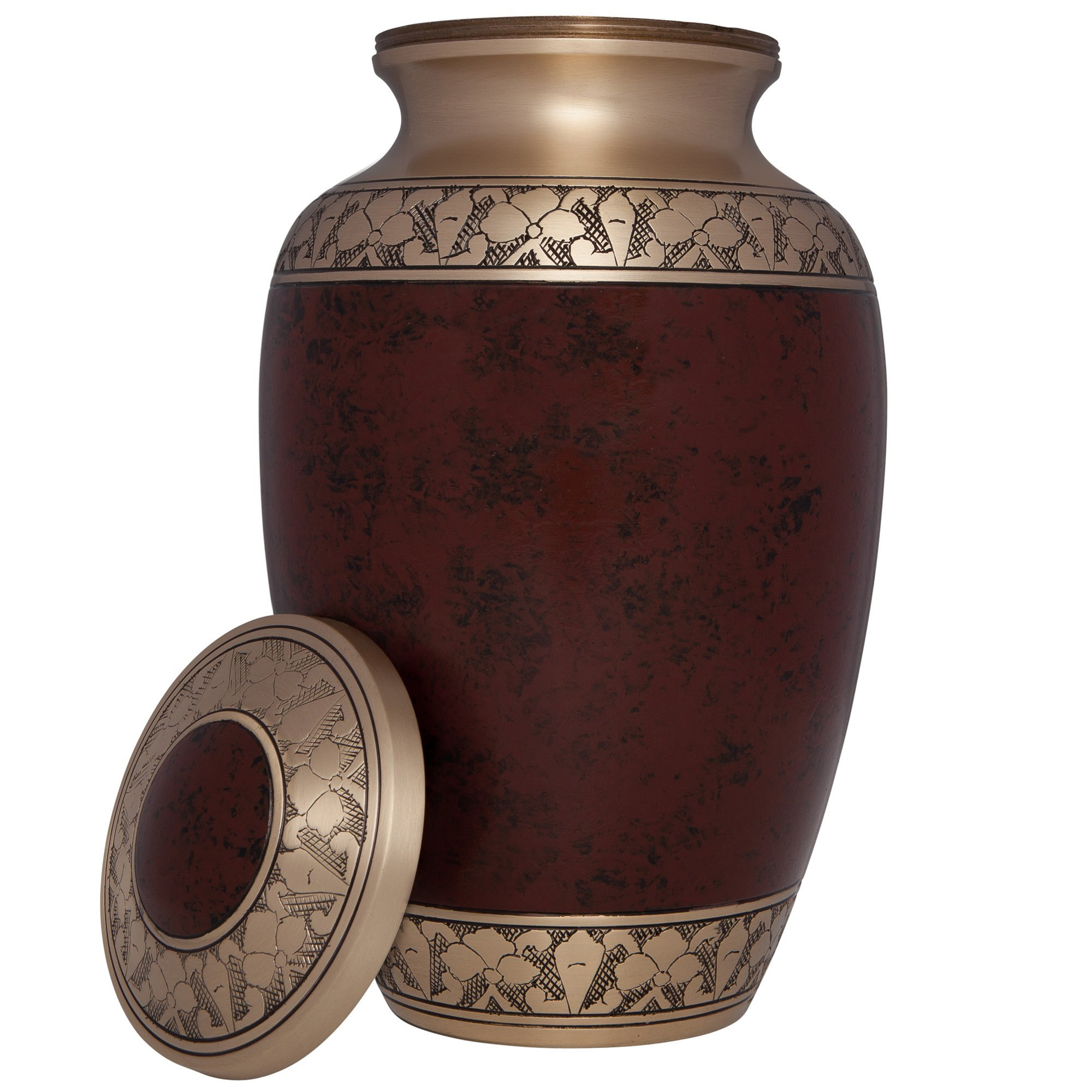 Brown Funeral Urn by Liliane Memorials - Cremation Urn for Human Ashes - Hand Made in Brass -Suitable for Cemetery Burial or Niche - Large Size fits remains of Adults up to 200 lbs- Tranquility Brown by Liliane Memorials (Image #2)