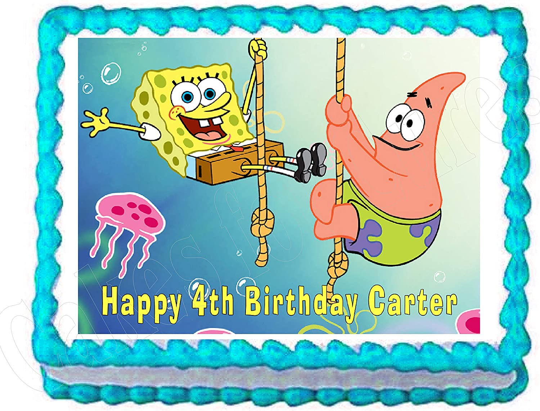Brilliant Amazon Com Spongebob And Patrick Edible Cake Image Frosting Sheet Personalised Birthday Cards Cominlily Jamesorg
