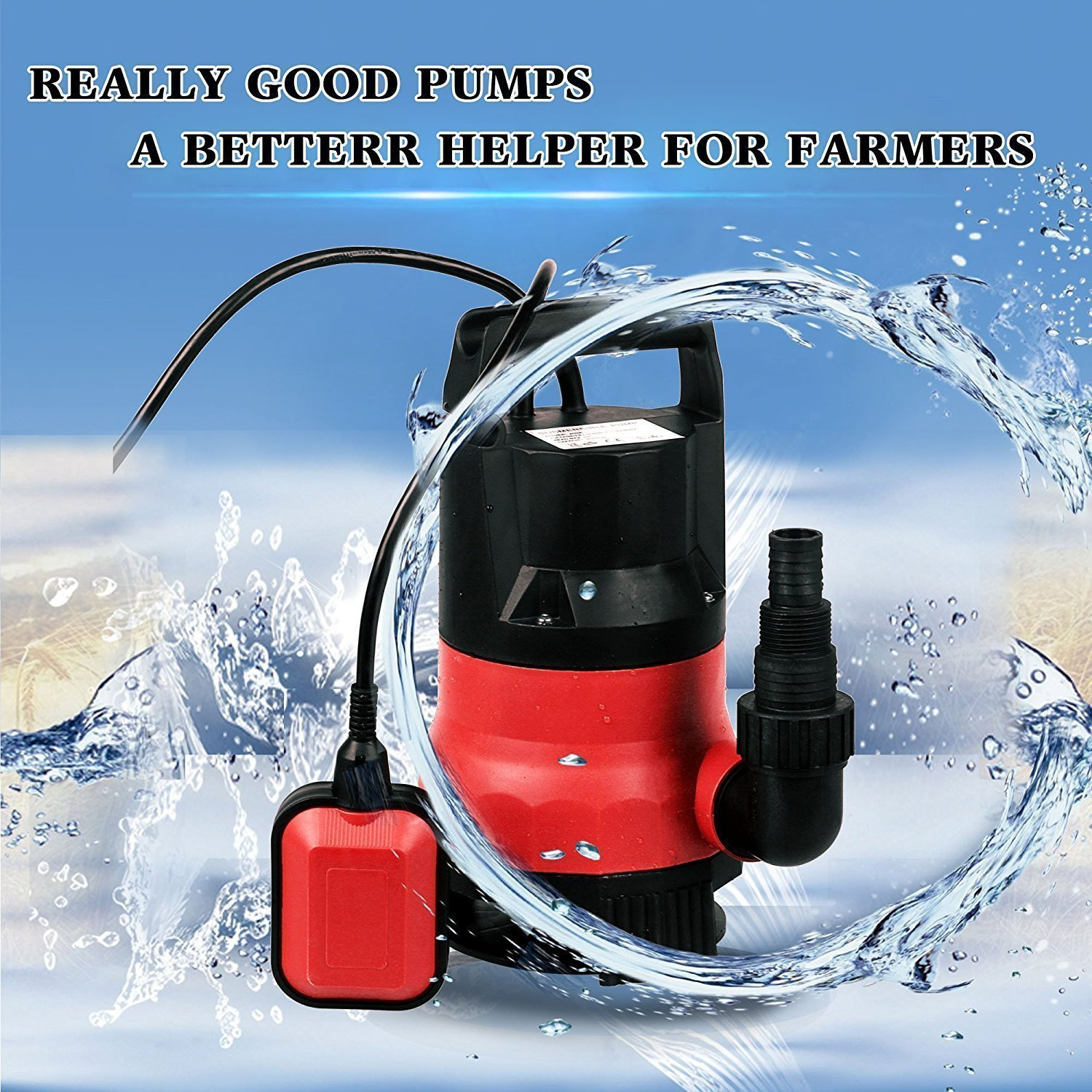 Dtemple Powerful Automatic 400W Water Pump Submersible Dirty Clean Water Pump, US Stock by Dtemple