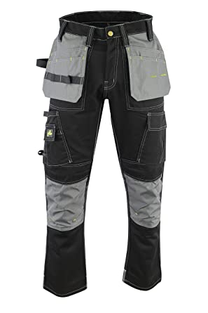 9ab7db6478 Amazon.com: Durable Mens Cargo Utility Work Pants with Built in Tool Belt  and Cordura Knee Pad Pockets: Clothing