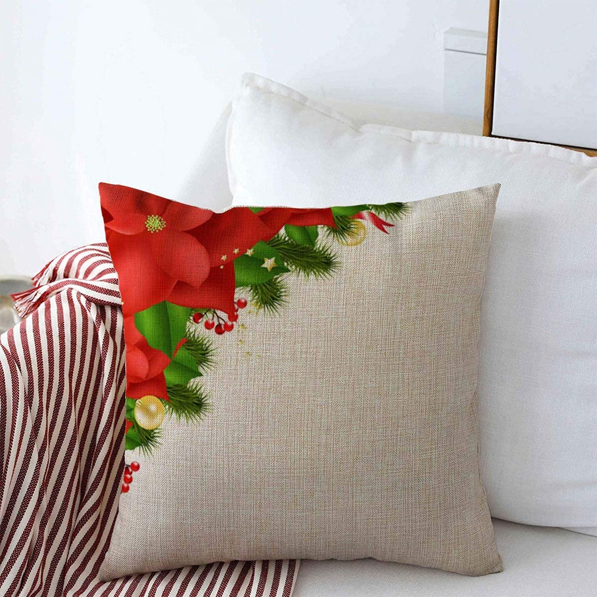 """Red Green Paisley//Sparkle//Christmas//16/"""" x 16/"""" or 18/""""x18/""""// Linen Pillow Cover"""