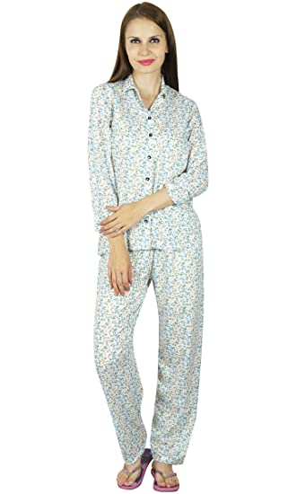 b21e671778 Bimba Blue Cotton Night Wear Off-White Pajama Set Long Sleeve Shirt with  Pyjamas at Amazon Women s Clothing store