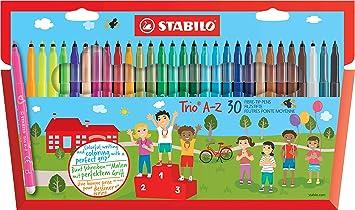Feutre A Coloriage En Anglais.Feutre De Coloriage Stabilo Trio Az Etui Carton De 30 Feutres Pointe Moyenne Dont 5 Couleurs Fluo