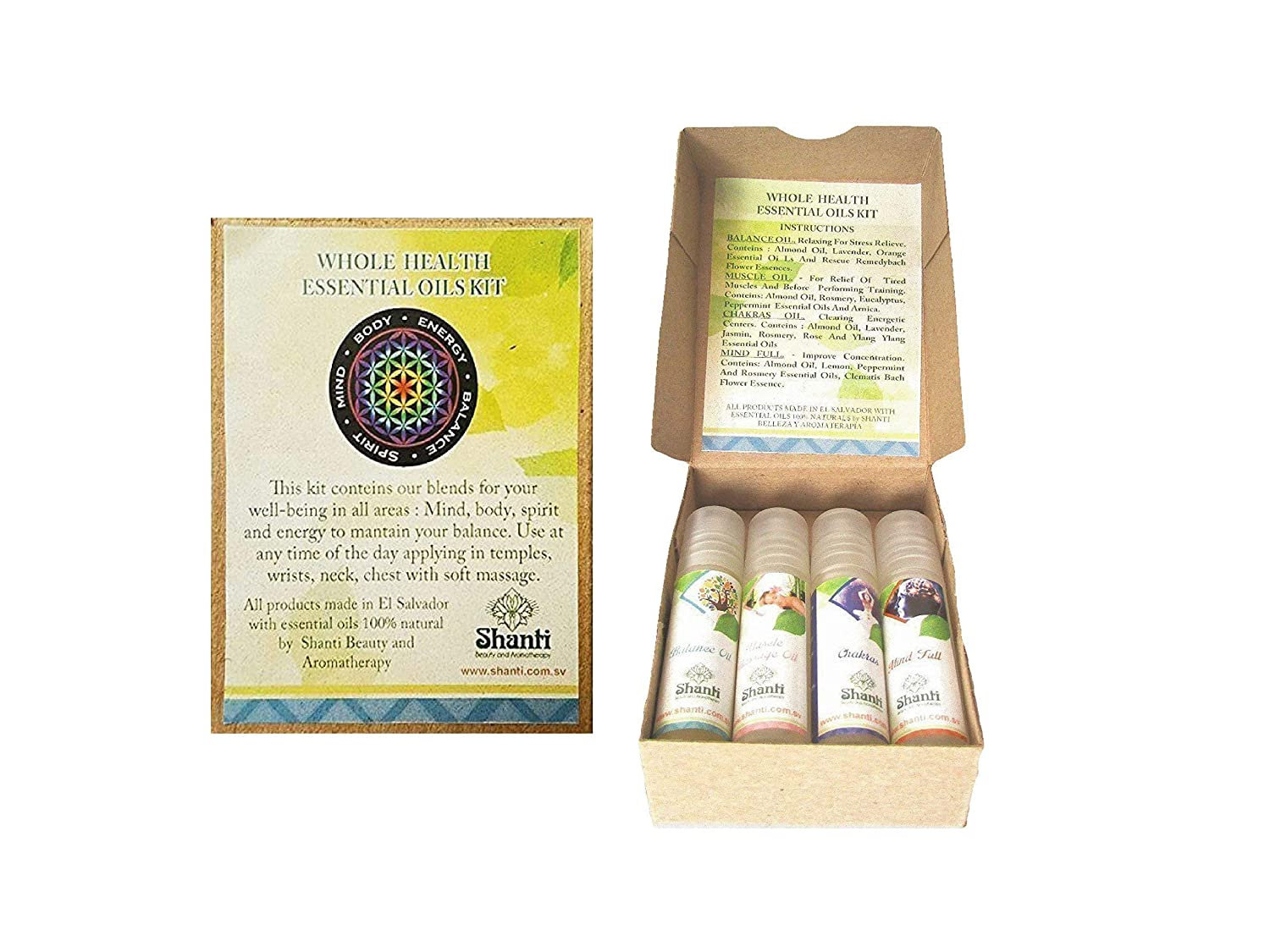 Essential Oil Blends HOLISTIC Kit (Set Of 4) : Pocket Size For Travel Aromatherapy, Made With Natural Organic Essential Oils - For Relaxation, Calming, Anxiety, balance energy, mental clarity And Muscle pain Relief