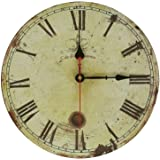"Soledi Wall Clock Decal 12"" Vintage Roman Numeral Design France Paris Rusted Metal Look French Country Tuscan Style Paris Wood Wall Clock"