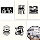 Limited Edition: FAITH Set Of Four 11X17 - Spiritual Wall Decor With Quotes About of Bible! Wooden FAITH Poster Arts for Christians, Office Decor For Minister & Pastor Gifts! 1MM Thick Cardboard!