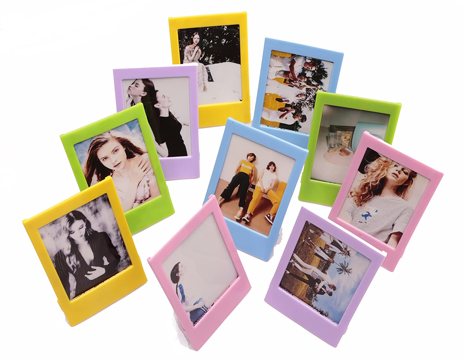 Fujifilm Instax Mini Ten Pack Instant Film Photo Frames Set,Hellohelio 10 Colorful 3 Inch borders,Set of 10