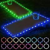 Letigo 2 Set Cornhole Lights, 16 Colors Change Cornhole Board Edge and Ring LED Lights with Remote Control for Family…