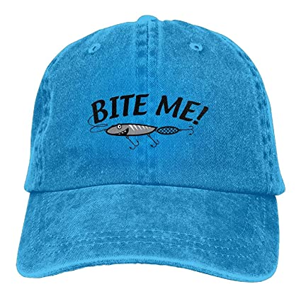 8e905f431d1 Image Unavailable. Image not available for. Color  Gorgeous products Bite  Me Fishing Lure Snapback Casual Baseball Hat ...