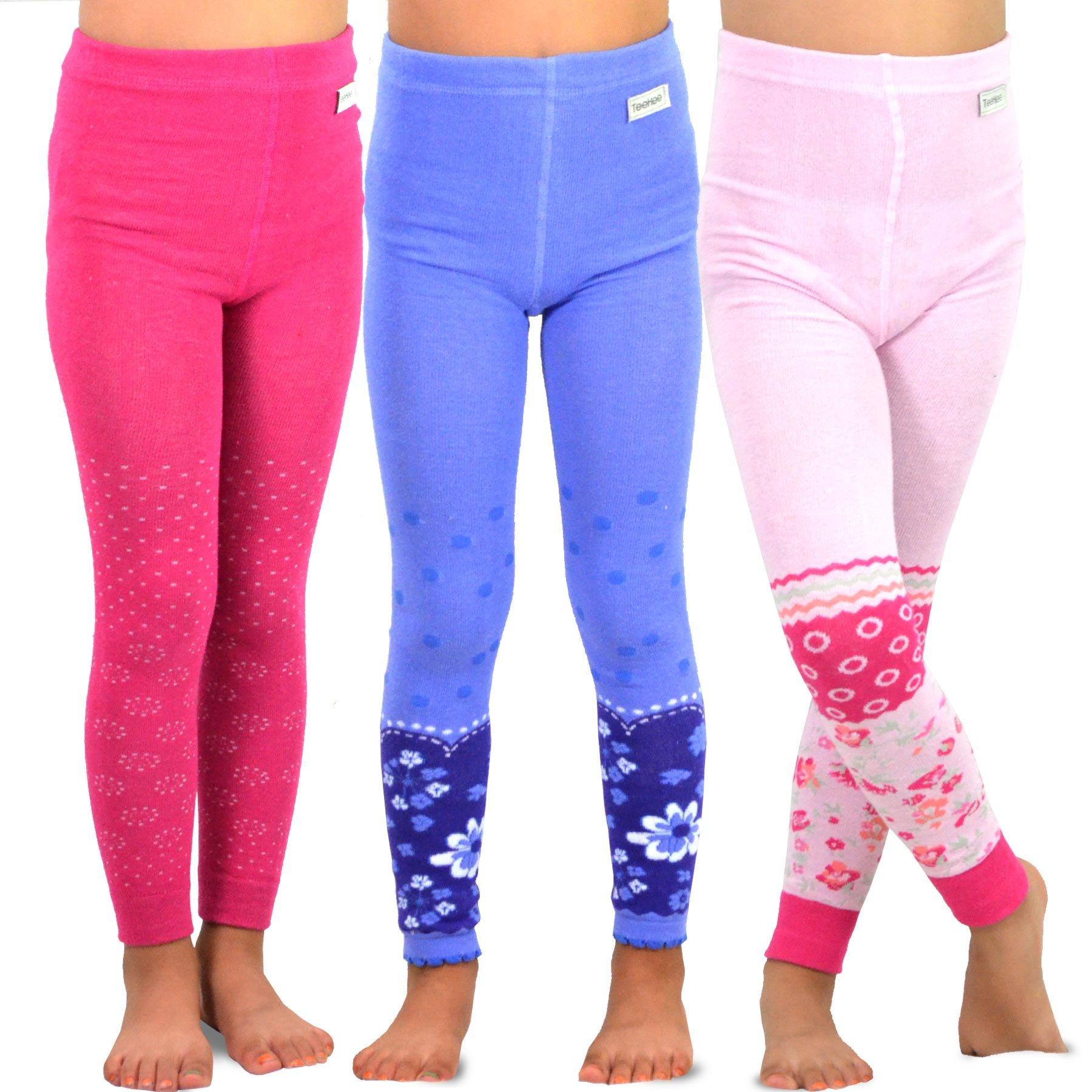 TeeHee Kids Girls Fashion Cotton Leggings(Footless Tights) 3 Pair Pack (6-8 Years, Assort Floral)