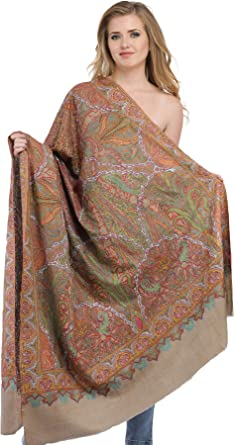 3711481585 Exotic India Women's Feather Kashmiri Pashmina Kalamkari Hand-Embroidered  Shawl (Grey, Free Size