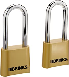 Brinks 671-49202 Commercial 50mm Brass Long Shackle Reset Combonation Lock, 2-Pack