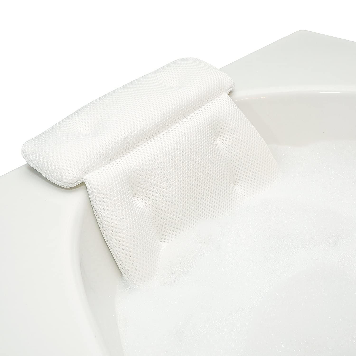 QuiltedAir Bath Pillow - Luxury Bathtub Pillow with 3D Air Mesh Technology, Machine Washable - Quick-Drying and Includes Washing Bag and Travel Case, White Bath Haven