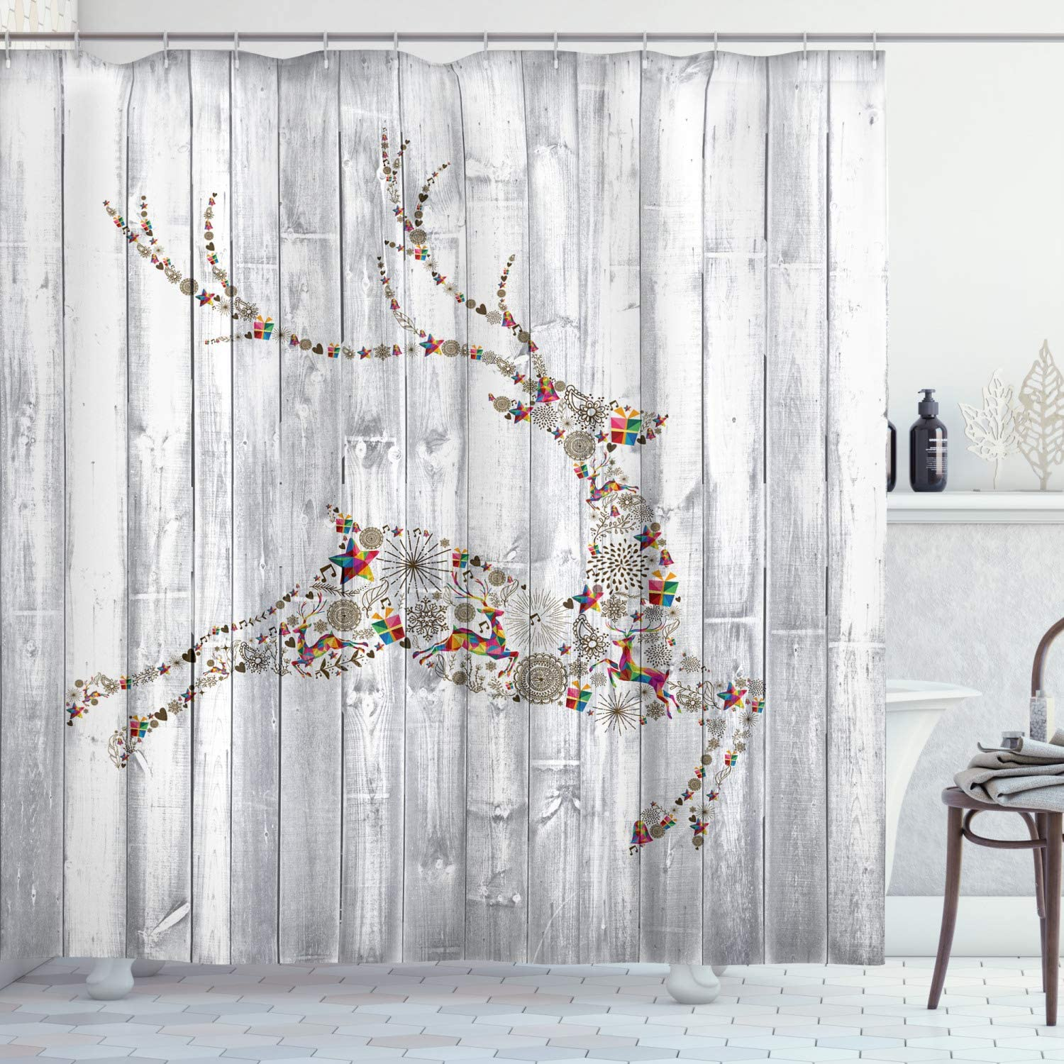 """Ambesonne Deer Shower Curtain, Colorful Animal Silhouette Various Christmas Elements Wooden Planks Theme, Cloth Fabric Bathroom Decor Set with Hooks, 70"""" Long, Grey Multicolor"""