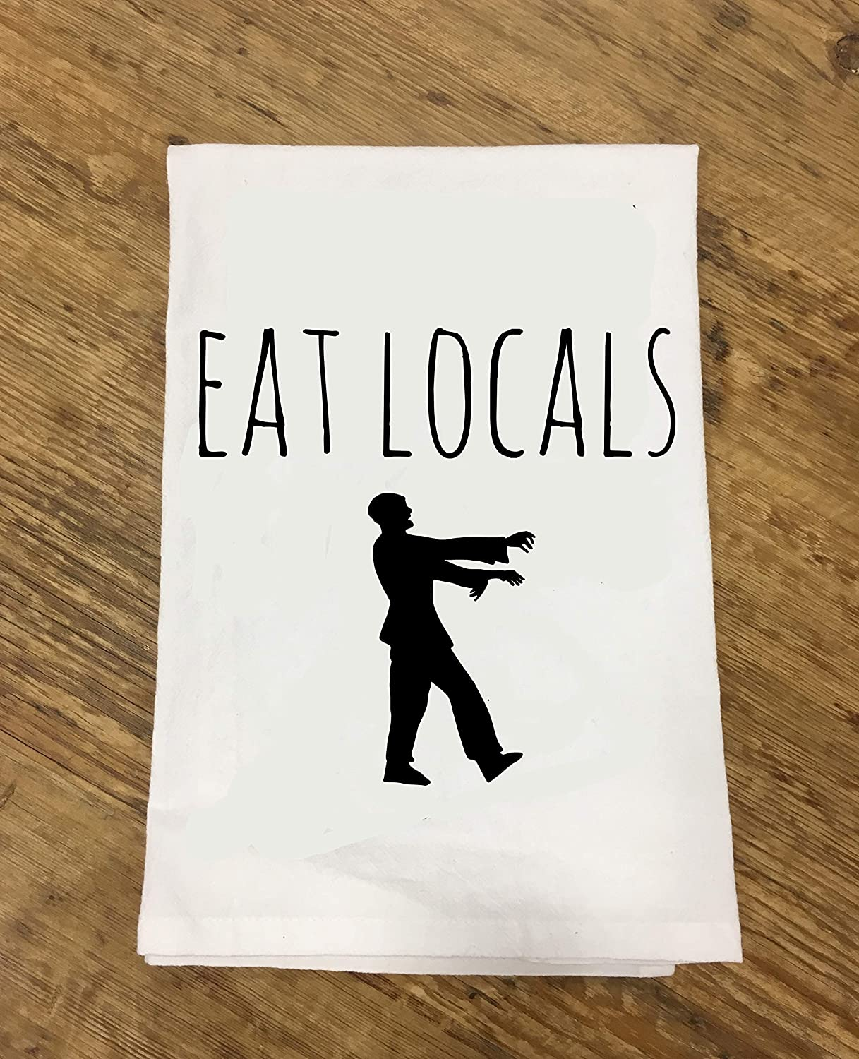 Funny Kitchen Cloth ~ Funny Dish Towel ~ Eat Locals Zombie Tea Towel